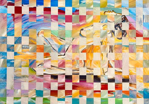 Bild Nr. 986, Sonnenanbeterin, 75 x 105 cm, Acryl und Baumwolle