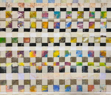 Bild Nr. 988, Leitfäden, 85 x 100 cm, Acryl und Ölkreide und Baumwolle