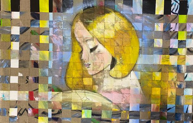 Bild Nr. 945, Helene, 120 x 80 cm, Acryl und Jute