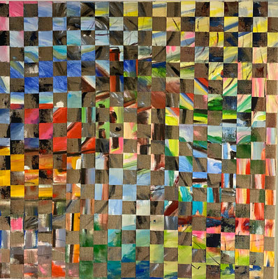 Bild Nr. 929, Frauenakt, 100 x 100 cm, Acryl und Jute