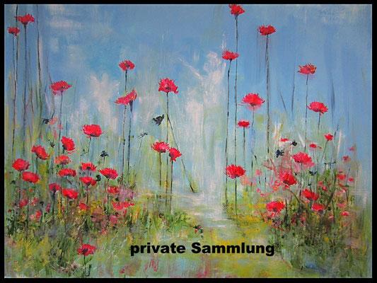 rote Blumen vor blauem Himmel (100x120cm) Nr. 528
