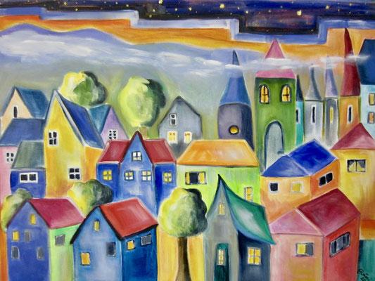Bunte Häuser und Hexenhaus, 60 x 80cm, Nr. 812