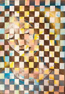 Bild Nr. 904, Julia und die Tauben, 70 x 100 cm, Acryl auf Reinleinen und Seidenpapier