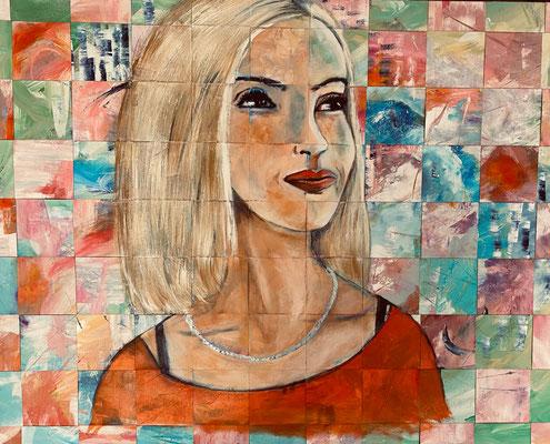Bild Nr. 996, Die lächelnde Blonde, 100 x 80 cm, Acryl