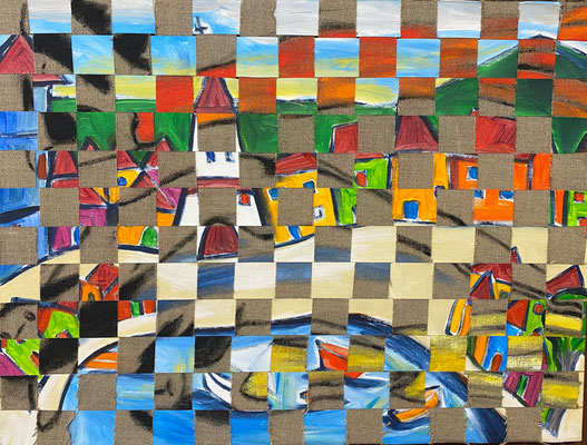 Bild Nr. 941, Drei Frauen im Dorf, 60 x 80 cm, Acryl und Jute