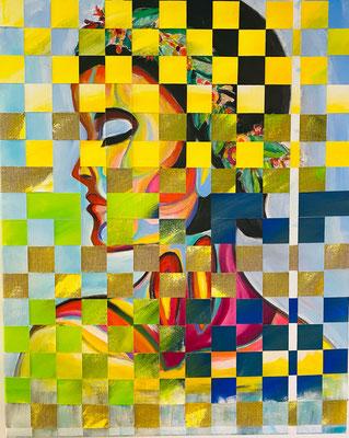 Bild Nr. 944, Stickfrau, 80 x 100 cm, Acryl und Jute