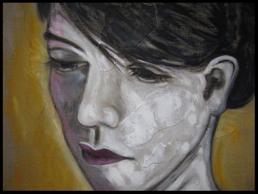 Collage-Frau dunkelhaarig (70x90cm) Nr. 710