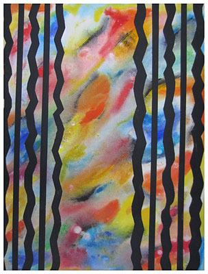 Anthrazite Wellen-Linien (60x80cm) Nr. 562