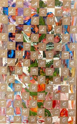 Bild Nr. 937, Im allerbesten Falle..., 50 x 80 cm, Acryl und Jute