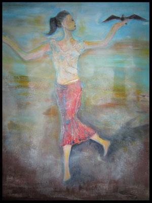 Frau mit Vogel auf der Hand (60x80cm) Nr. 582