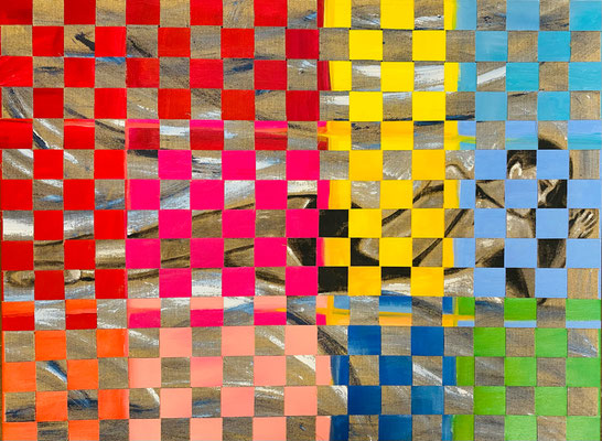 Bild Nr. 973, Die Liegende, 120 x 90 cm, Acryl und Jute