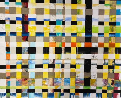 Bild Nr. 989, mixed, 100 x 80 cm, Acryl und Baumwolle und Leinen