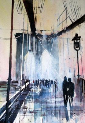 190 Les amoureux du pont de Brooklin: NYC - Aquarelle 36 x 51