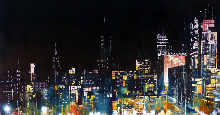 462 Nights in the world NYC 03 Aquarell et encre de chine collée sur médium 82 x 140