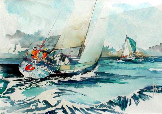 14 Course au large - 2000 - Aquarelle 70 x 100