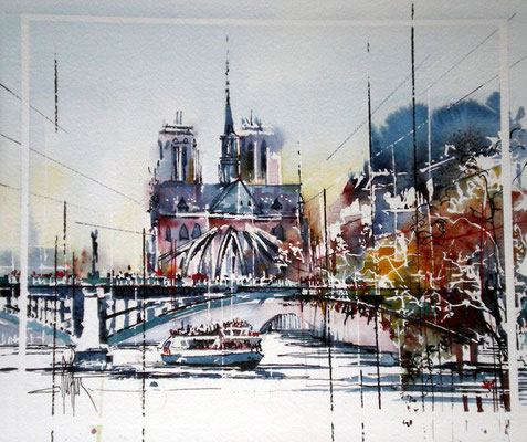 237 La seine et Notre Dame PARIS. Aquarelle 30 X 35; 2011