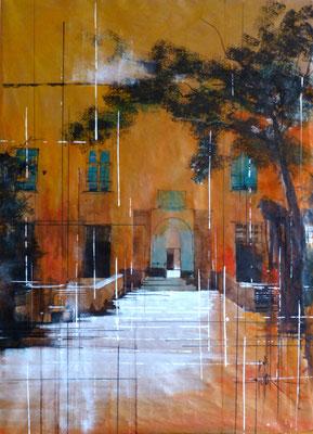 273 Le chateau de Bagnols 04: Enytrée principale. Aquarelle et brou de noix sur kraft 60 x 80. 2012