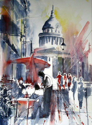 172 Paris: Quartier latin 04 - Aquarelle 36 x 48