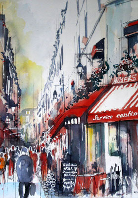170 Paris Quartier latin 03 - Aquarelle 36 x 51