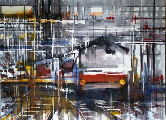 185 Trains, quais et gares 01 - Aquarelles sur châssis 46 x 61