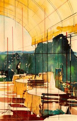 277 Le chateau de Bagnols 07: Restaurant extérieur sous la tonelle. Aquarelle 35.5 x 51. 2012