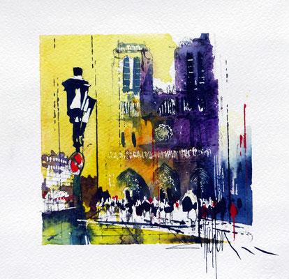 441 Paris Notre Dame V Aquarelle 20 x 20
