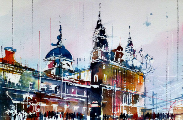 259 Les capitales: Madrid. Aquarelle 30.5 x 45.5. 20121