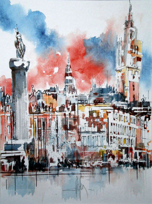 136 Lille Grand Place 01 - Aquarelle 40 x 50