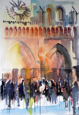 169 Paris Notre Dame 02 - Aquarelle 36 x 51