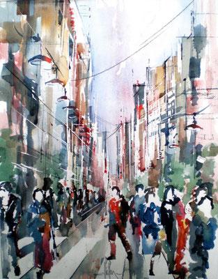 110 Urbanité japonnaise 02 - Aquarelle 40 x 50
