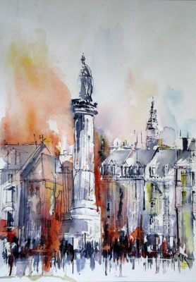 175 Lille Grand Place 03 -  Aquarelle 36 x 51
