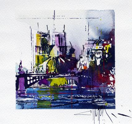 444 Paris Les ponts V Aquarelle 20 x 20