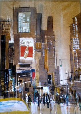 243 NYC 51. Aquarelle t brou de noix sur kraft 54 x 74. 2012