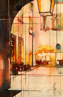 276 Le chateau de Bagnols 06: La cour intérieure. Aquarelle 35.5 x 51. 2012