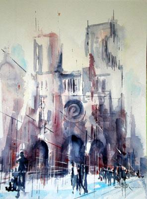 173 Paris: Notre Dame 04 - Aquarelle 36 x 48