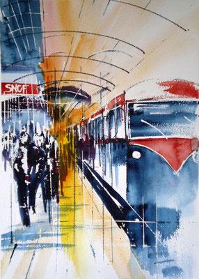 228 Le train est encore en gare. Aquarelle 30 x 43. 2011