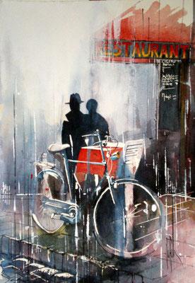 195 Les amoureux à la bicyclette: Paris - Aquarelle 36 x 51