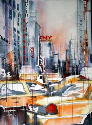 164 NYC 42 - Aquarelle sur châssis 50 x 70