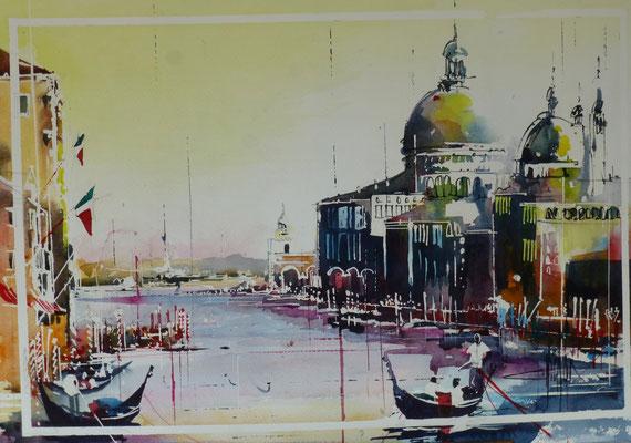 330 Le gondolier du grand canal. Aquarelle 35.5 x 51. 2015
