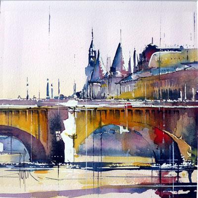 416 Paris Les ponts II Aquarelle collée sur médium 30 x 30 - 40 x 40