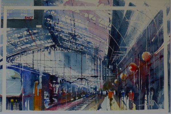 328 Lille gare 1. Aquarelle 50 x 70. 2015
