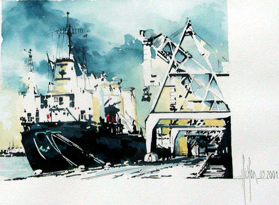 25 Grues au Havre - 2000 - Aquarelle 24 x 30