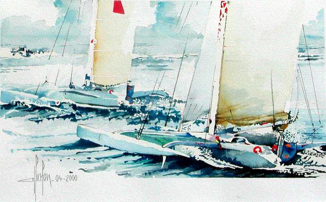 12 Catamarans - 2000 - Aquarelle 40 x 50