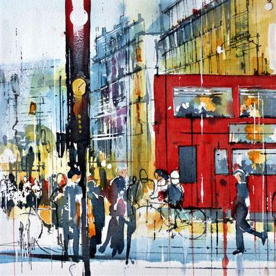 414 Les capitales Londres II Aquarelle collée sur médium 30 x 30 - 40 x 40