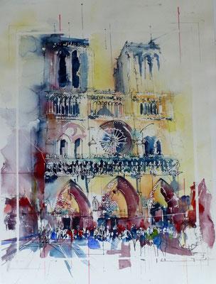 315 Sur le parvis de Notre Dame. Aquarelle 50 x 70. 2014