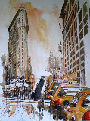 156 NYC 34 - Aquarelle et brou de noix 60 x 80