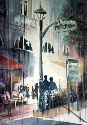 199 Les amoureux du Métropolitain - Aquarelle 36 x 51