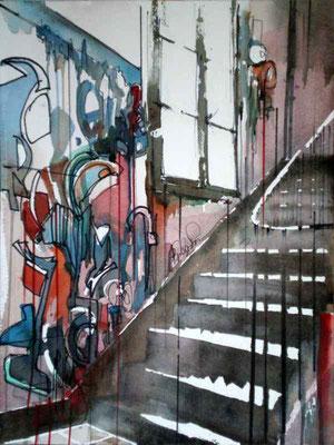 198 Graffitis dans la cage d'esclairer D - Aquarelle 31 x 41