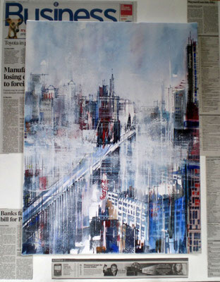 208 The news NYC 49 - Aquarelles, encre et collage sur châssis 46 x 61