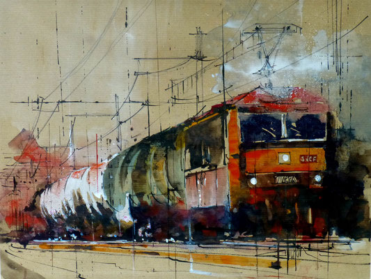 320 Le train rouge. Aquarelle et brou de noix 40 x 50. 2014